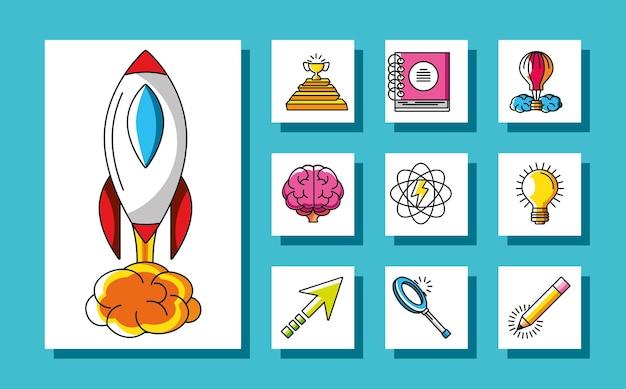 Ícones de criatividade de sucesso de troféu de grande ideia