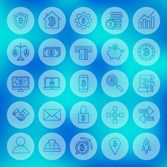 Ícones de criptomoeda da web de linha. ilustração em vetor de símbolos de contorno bitcoin sobre fundo desfocado.