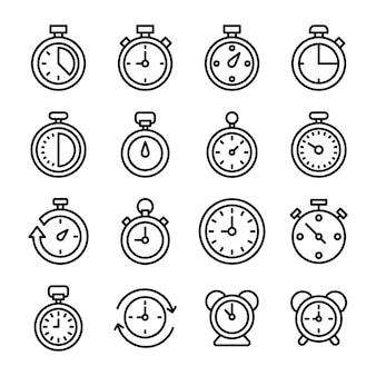 Ícones de cronômetro e relógio digital
