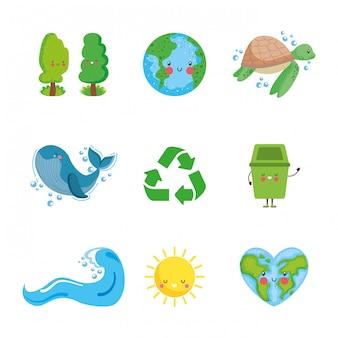 Ícones de cuidados do planeta terra.