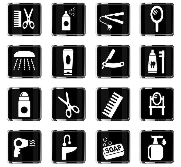 Ícones de cuidados pessoais da web para design de interface de usuário