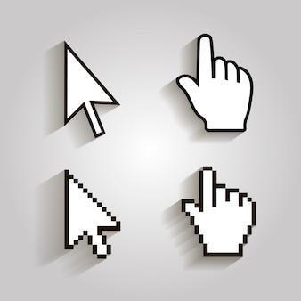 Ícones de cursores de pixel mouse seta de mão.
