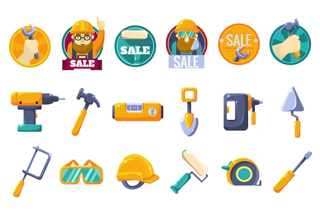 Ícones de desenho animado com ferramentas para loja de ferragens