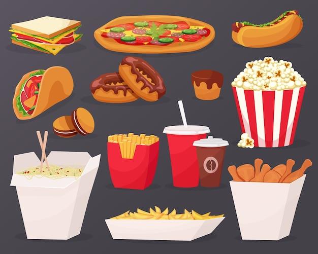 Ícones de desenho animado de fast food em fundo preto