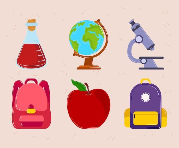 Ícones de desenho escolar