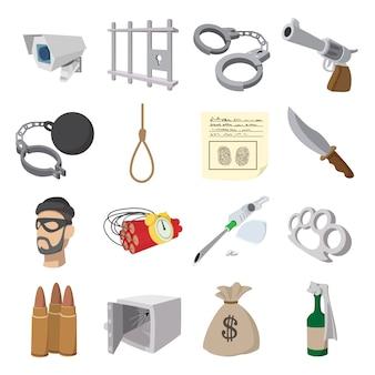 Ícones de desenhos animados de crime definido para web e dispositivos móveis