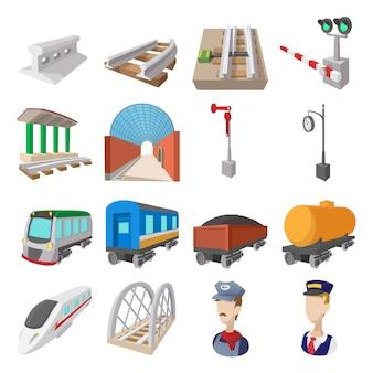 Ícones de desenhos animados de ferrovia conjunto isolados