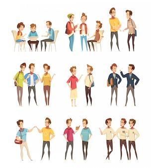 Ícones de desenhos animados de grupos de meninos adolescentes