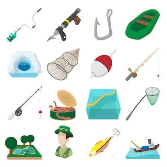 Ícones de desenhos animados de pesca conjunto isolado