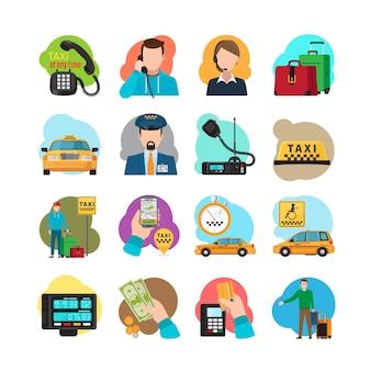 Ícones de desenhos animados de táxi