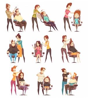 Ícones de desenhos animados de tratamentos de salão de beleza de cabelo
