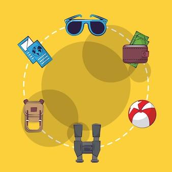 Ícones de desenhos animados de viagens e férias