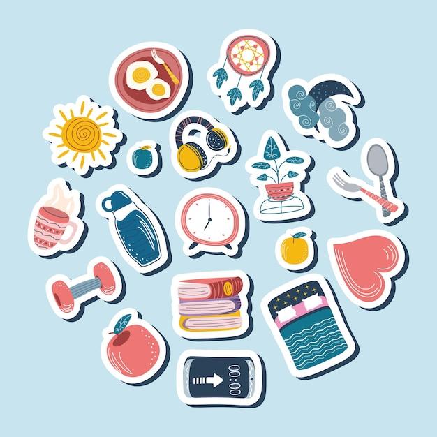 Ícones de desenhos animados domésticos de adesivos diários