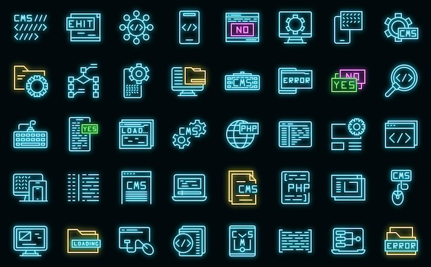 Ícones de desenvolvimento cms definidos vetor neon
