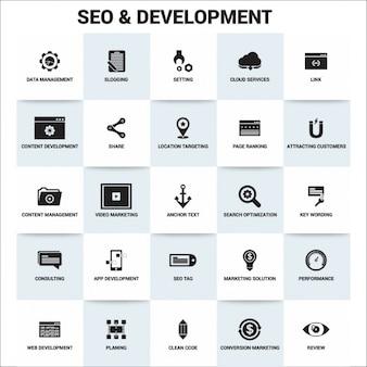Ícones de desenvolvimento seo planas