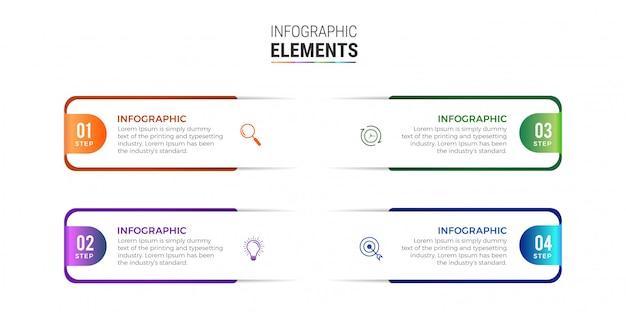 Ícones de design de infográfico de negócios 4 opções ou etapas