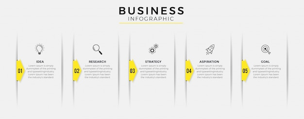 Ícones de design de infográfico de negócios 5 opções ou etapas