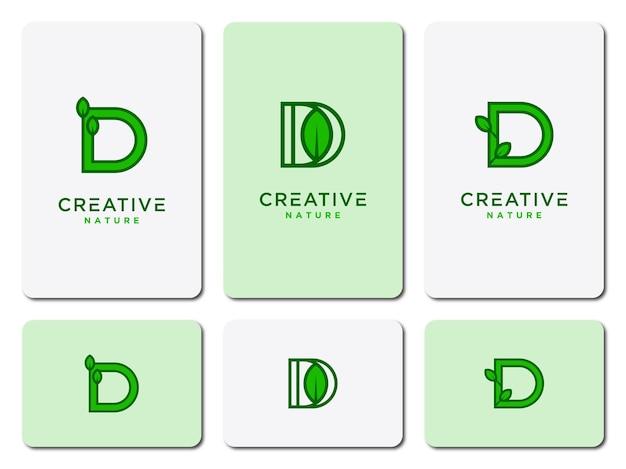 Ícones de design de logotipo de folha com modelo inicial definido d para produtos naturais ou empresas