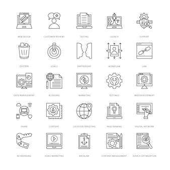 Ícones de design e desenvolvimento web