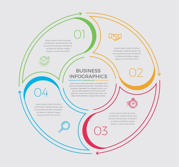 Ícones de design e marketing de infográfico. conceito de negócio com 4 opções, etapas ou processos.