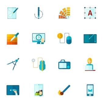 Ícones de design gráfico planas