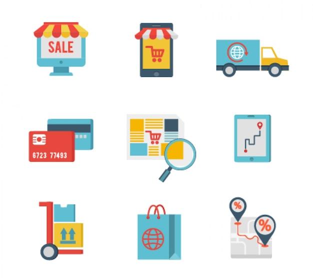 Ícones de design plano de comércio eletrônico e compras pela internet