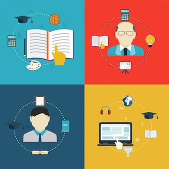 Ícones de design plano de educação, aprendizagem on-line e pesquisa.