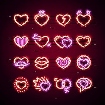 Ícones de dia dos namorados com glitter