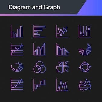 Ícones de diagrama e gráfico.