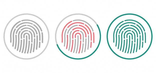 Ícones de digitalização de impressões digitais