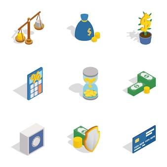 Ícones de dinheiro e finanças, estilo 3d isométrico