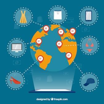 Ícones de dispositivo, mundo e compras
