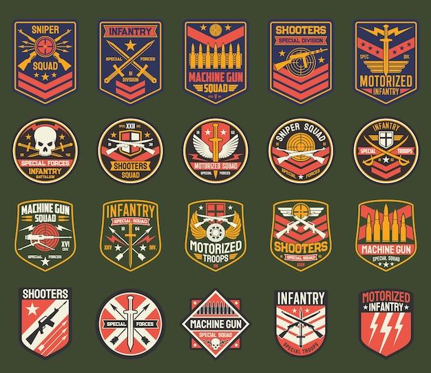 Ícones de divisas militares, listras do exército para o esquadrão de atiradores, divisão de forças especiais de infantaria.