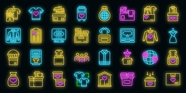 Ícones de doação de roupas definidos vetor neon