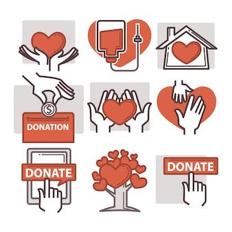 Ícones de doação e trabalho voluntário