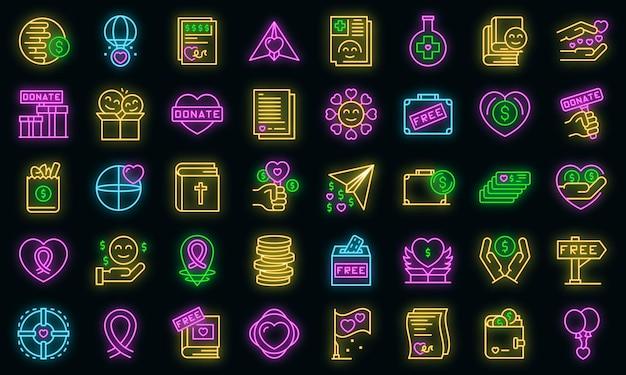 Ícones de doações de caridade definem vetor neon