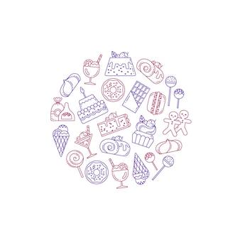 Ícones de doces de estilo linear em forma de círculo