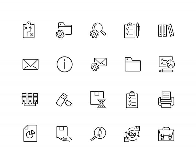 Ícones de documentos. conjunto de ícones de vinte linhas. sinal de informações, pasta, pen drive usb.