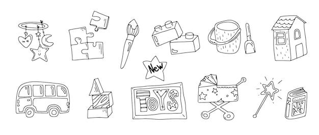 Ícones de doodle de brinquedo ícones de brinquedo de bebê e criança para loja de bebês diferentes tipos de brinquedos