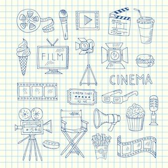 Ícones de doodle de cinema