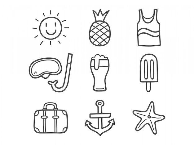 Ícones de doodle de verão.