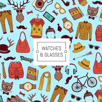 Ícones de doodle hipster com espaço de cópia