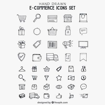 Ícones de e-commerce desenhados mão