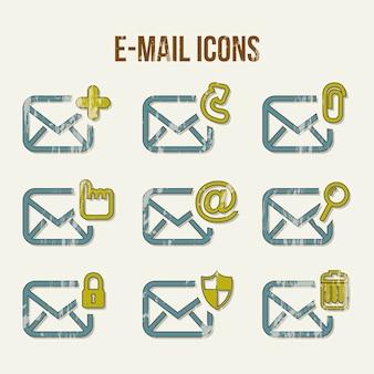 Ícones de e-mail sobre ilustração vetorial de fundo bege