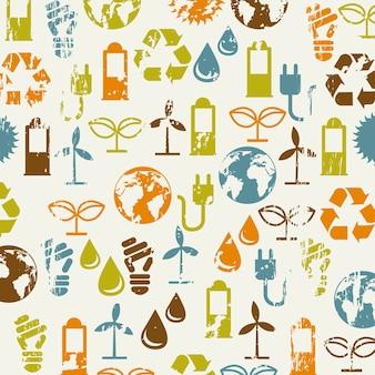 Ícones de ecologia sobre ilustração vetorial de fundo bege