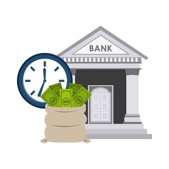 Ícones de economia de edifício de banco