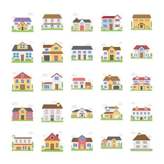 Ícones de edifícios de chalé