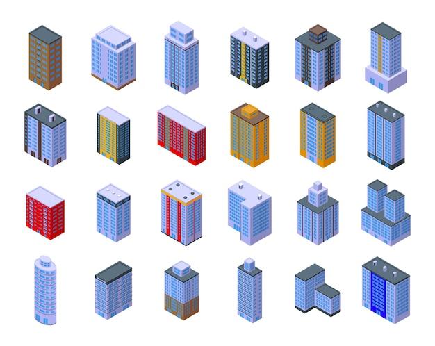 Ícones de edifícios de vários andares definem vetor isométrico. arquitetura de interiores. projeto da casa