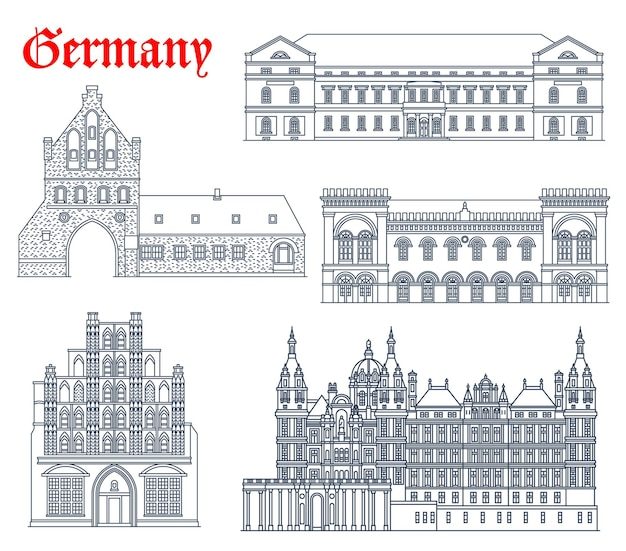 Ícones de edifícios históricos da alemanha, arquitetura de igreja catedral das cidades de mecklenburg vorpommern