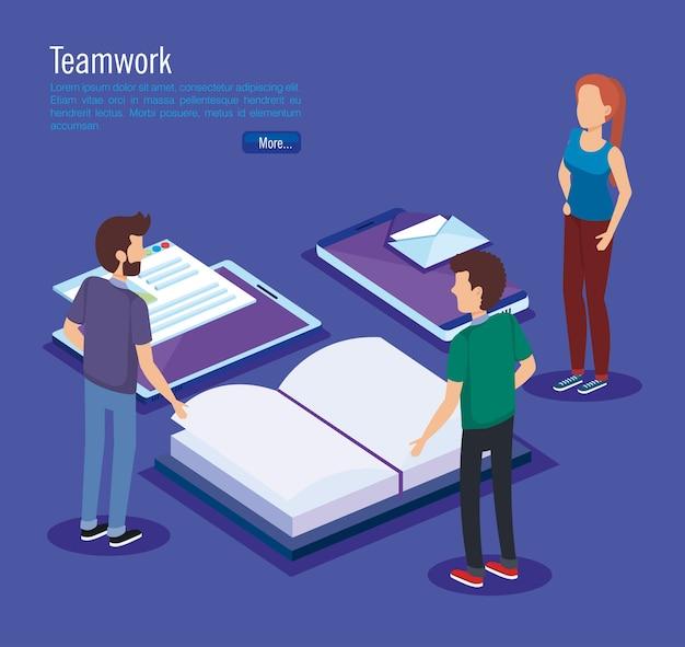 Ícones de educação com pessoas de trabalho em equipe isométrica